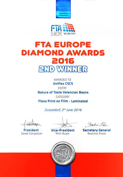 Диплом конкурса FTA Europe Diamond Awards 2016